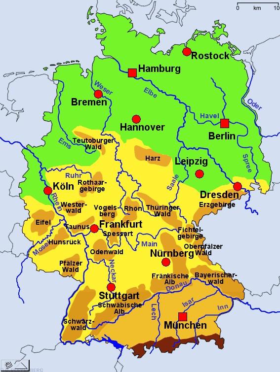 mittelgebirge karte Karte Mittelgebirge Deutschland
